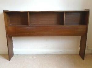 """Vintage Freestanding Headboard For 4' 6"""" Double Bed Mid Century Display Shelving"""