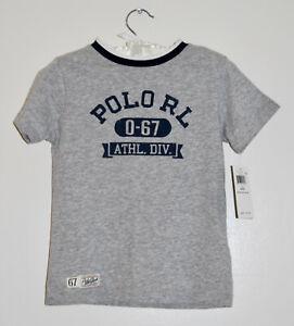 NWT Polo Ralph Lauren Toddler Boys Heather Gray Vintage SS Logo T-Shirt sz 4T