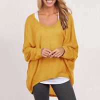 Women Oversized Loose Casual Knit Long Sleeve Baggy Jumper Tops Sweater Pullover