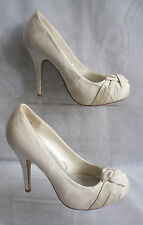 WOMENS ATMOSPHERE IVORY SLIP ON TEXTILE HIGH HEEL COURT SHOES Size:5/38(WHS125)