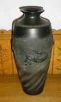 Oriental Black Art Pottery Vase - Dragon - 1 Chip Underneath - 13 1/4""