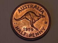 Australia  1959 Melbourne -  Halfpenny..  Proof - Near Full Lustre..
