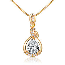 Hollow Drop Pear Clear Swarovski Crystal Gold Filled Pendant Women Lady Necklace