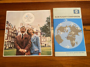 Lot of 2 1960's/70's KLM Airlines Brochures Route Maps In English e7