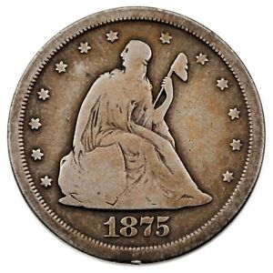 1875-S 20C Twenty Cent Piece in Good+ Condition, Full Strong Rims, Natural Color