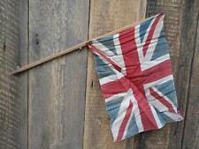 Antique Vintage Union Jack Flag Wooden Stick Village Fete Garden Celebration C