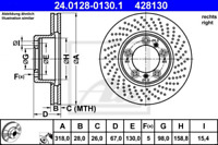 Bremsscheibe für Bremsanlage Vorderachse ATE 24.0128-0130.1