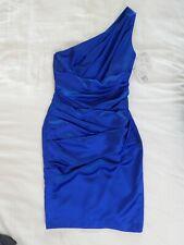 NEW womens blue horizon DAVIDS BRIDAL 85106 dress bridesmaid one shoulder XS 2
