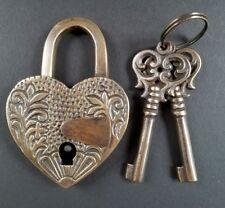 "♡ HEART LOVE Paris PADLOCK 3-3/4"" Ornate carving Vtg. Style, 2 Skeleton Keys #L7"