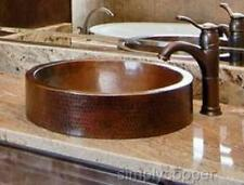 """18"""" Oval Copper Bath Sink Drop-In or Vessel WITH 3"""" SKIRT APRON"""