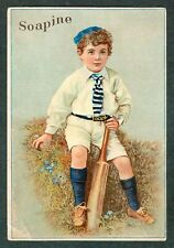 1890s CRICKET PLAYER Soapine USA Advertising TRADE CARD Victorian Rare Soap