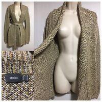 MEXX Y2K Long Cardigan Shawl Collar Speckled Fleck Knit Belted Jacket M UK 12