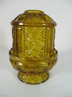 Vintage INDIANA Glass Amber Glass Fairy Lamp Stars and Bars Excellent Condition