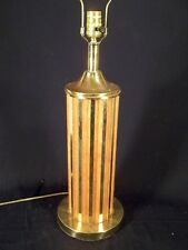 MID CENTURY MODERN WOOD AND BRASS FLUTED COLUMN LAMP
