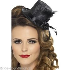 Ladies Black Burlesque Mini Glitter Top Hat & Feather Fancy Dress Wedding Theme