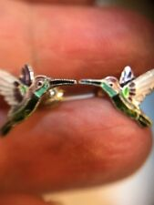 Vintage Enamel On Sterling Hummingbird Earrings