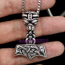 Myth THOR'S HAMMER Pendant Box Chain Norse Mjolnir Viking Mens Necklace