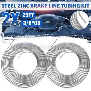 "2pcs 25ft Coil Roll of 3/8"" OD Steel Zinc Silver Brake Fuel Line Hose Tubing Kit"