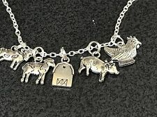 "Farm Animals Barn Sheep Cow Pig Chicken Charm Tibetan Silver 18"" Necklace S"