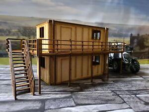 Woody Farm Building,double Portacabin/portakabin 20ft with platform 1:32,