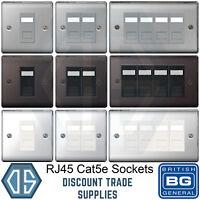 BG 1 2 3 4 Gang RJ45 Cat5 Data Socket Brushed Steel Black Nickel Polished Chrome