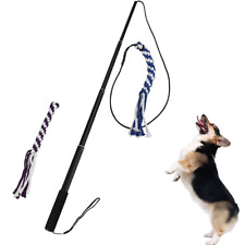 ANG Flirt Pole Rope Tug Dog Toy, Braided Cotton Blend Rope Outdoor Interective L