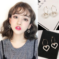 Cute Korean Women Circle Hoop Heart Pearl Drop Party Earrings Jewelry Gift