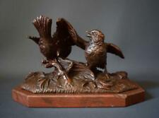 Antique French Black Forest Hand Carved Wood Sculpture of Birds Nest