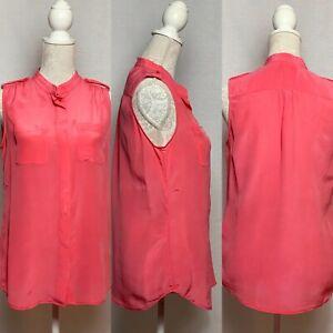 Banana Republic Pink 100% Silk Sleevless Top Size 8 Summer Holiday