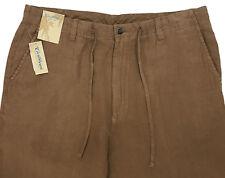 Men's CARIBBEAN Chino Khaki LINEN Drawstring Pants 38x30 NEW NWT Nice!