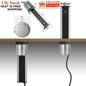 Chrome Pull Pop Up 3 UK Plug 2 USB Electrical Socket Draw Extension 1.8M Head