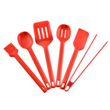 6pcs Food grade Silicone Kitchenware Set Non Stick Pot Shovel with Tongs Red