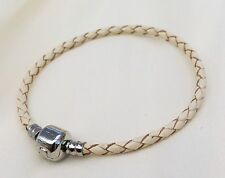Cream Woven Leather Bracelet Silver Clasp 19cm For Euro Charms Beads Uk