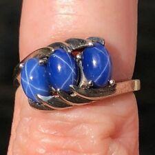 Vintage 10K White Gold Star Sapphire Three Stone Ring size 4.25