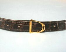 Hermes Womens Gold Crocodile Stirrup Belt Size Medium 70MM  3/4 Inch Wide