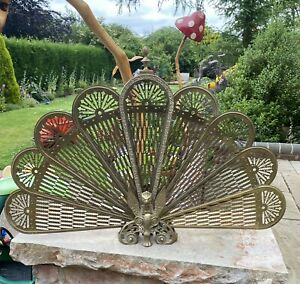 Victorian Peacock Griffin Brass Folding Fan Fire Screen Guard