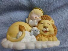 Porcelain? Lion lamb angel halo  figurine peace earth