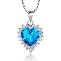 Heart Of The Ocean Pendant 925 Sterling Silver Chain Necklace Womens Jewellery