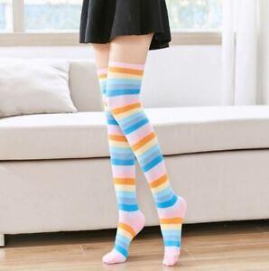 Women Over Knee Socks Rainbow Striped High Thigh Long Stocking Sock Fshion US