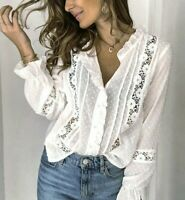 M New Boho White Lace Long Sleeve Blouse Vtg 70s Insp Top Womens MEDIUM