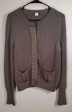 J Crew Women's Size Medium M 100% Cotton L/S button up sweater Spiked texture