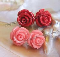 2Pairs 12mm Red/Pink Sea Coral Hand Carved Flower Earrings Silver Stud AAA