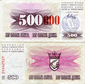 Bosnia 500(000) Dinara 1993 VF Overstamp Sarajevo Rare Banknote Large Red Zeros