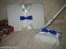 Wedding Supplies Guest Book Pen WHITE & ROYAL BLUE