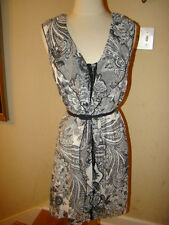 VENTTI BLACK WHITE FLORAL CORSETT HOOK BUTTON UP BELTED DRESS SIZE LARGE