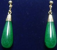 Fashion Lady 18K Gold Plated Nature Jade Earrings Drop Pendant Earring