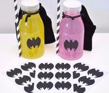 24 Batman Batgirl Glitter Stickers Superhero Party Favour Envelope Seals Black