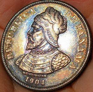 1904 Panama 25 Centesimos. Beautiful Rainbow Toning. BU! STUNNING COIN