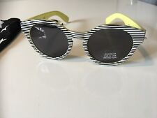 'zebra' Round Sunglasses Female Fashion black reflective NEW in pouch Retro
