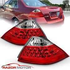 2006-2007 Red Rear Brake Tail Lights Pair For Honda Accord LX EX EXL 4Dr Sedan